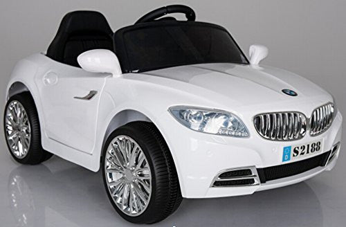 Ricco S2188 WHITE Kids Coupe BMW Style Ride on Car with LED Lights Music Parental Remote Control - RICCO® Toys
