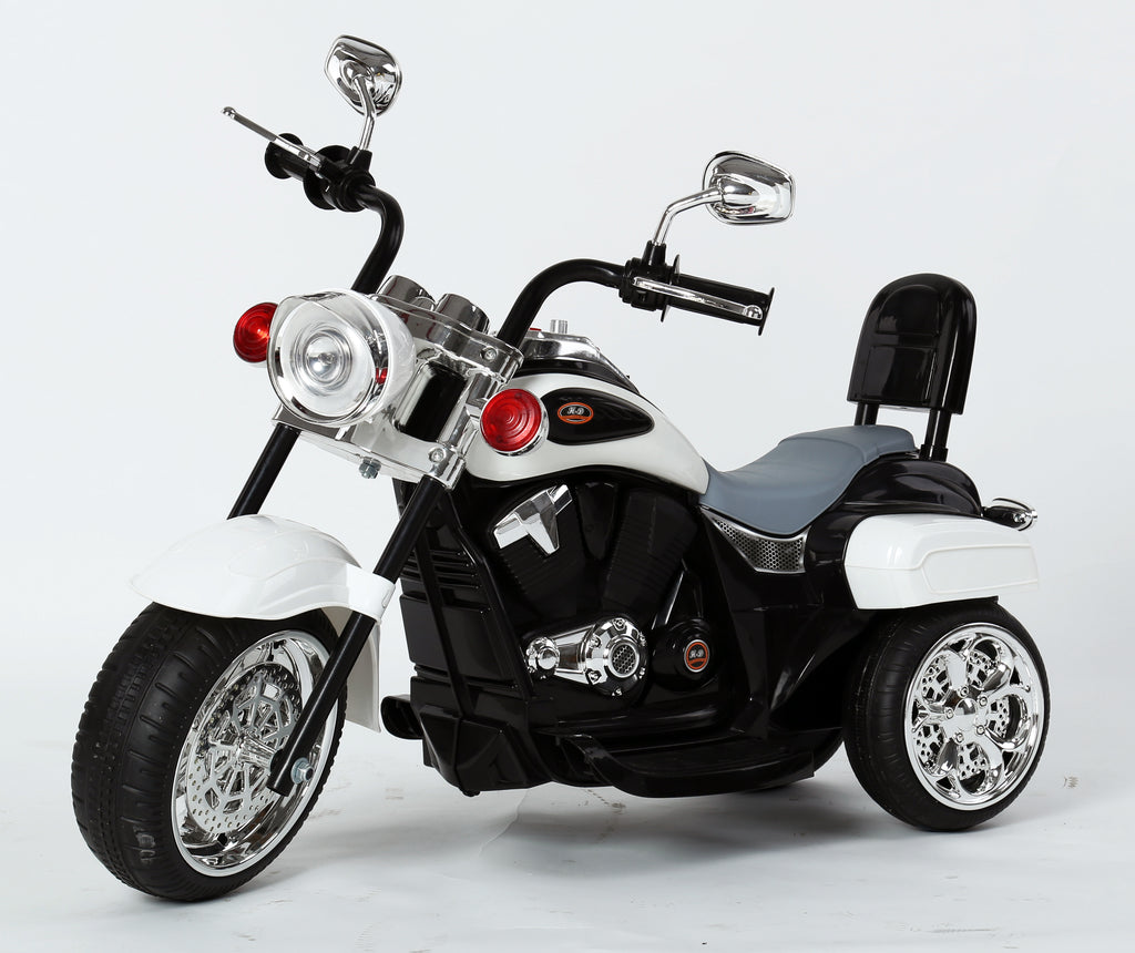 Kids 3 Wheel Chopper 6V 4.5Ah Battery Powered Harley Style Electric Motor Trike (Model: TR1501 ) WHITE