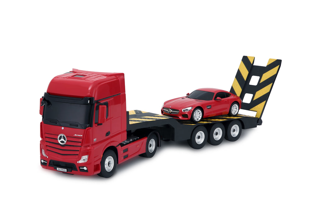 Ricco RC74920 Genuine Licensed 1: 26 Mercedes-Benz Actros Trailer Truck with 1/24 Car Remote Control Car Red