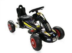 6V 12W Battery Powered Electric Go Kart Rubber Air Wheels (Model: S1388) BLACK - RICCO® Toys