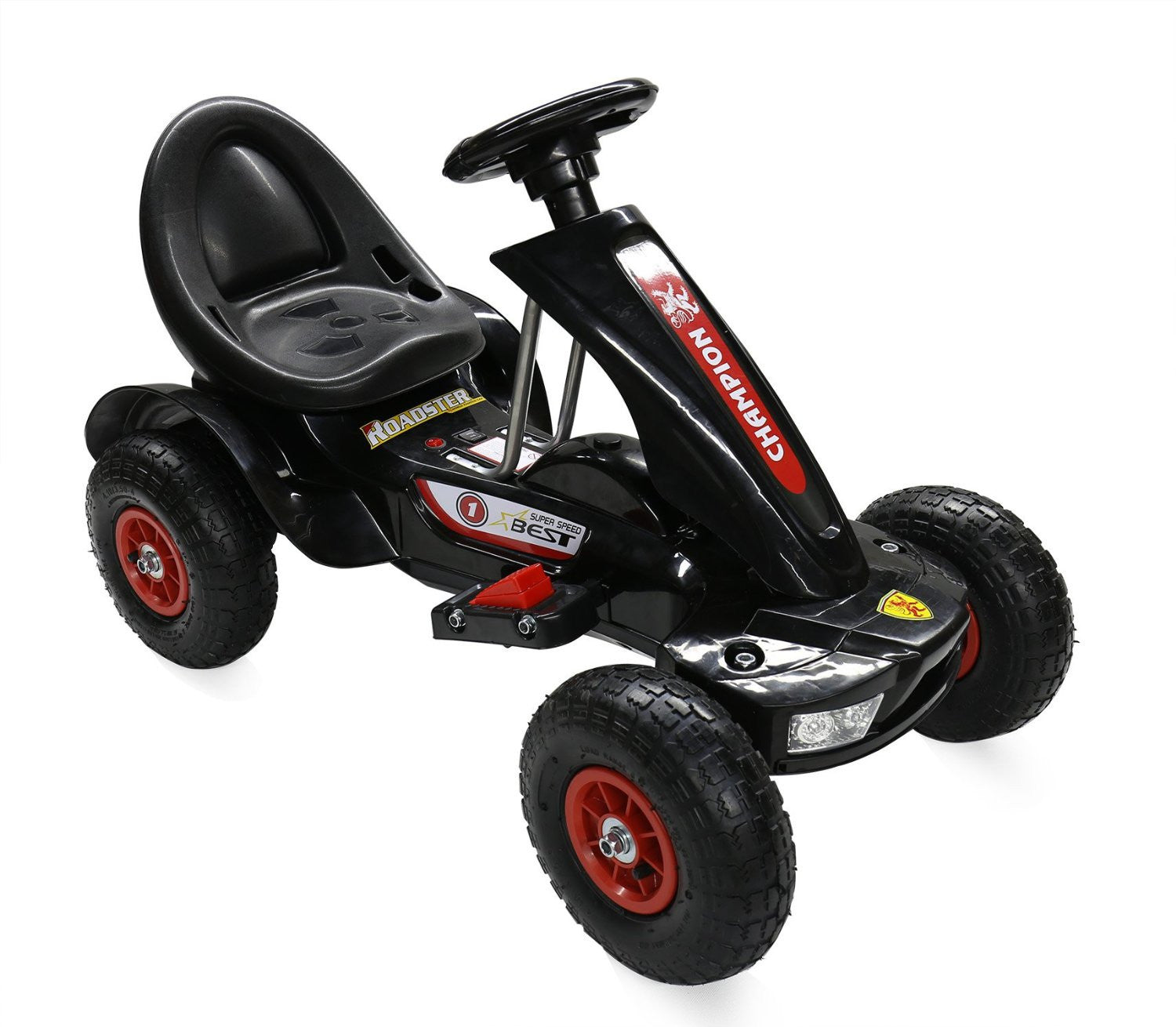 6V 7A Battery Two Motors Powered Electric Go Kart Rubber Air Wheels (Model: S1588) BLACK - RICCO® Toys