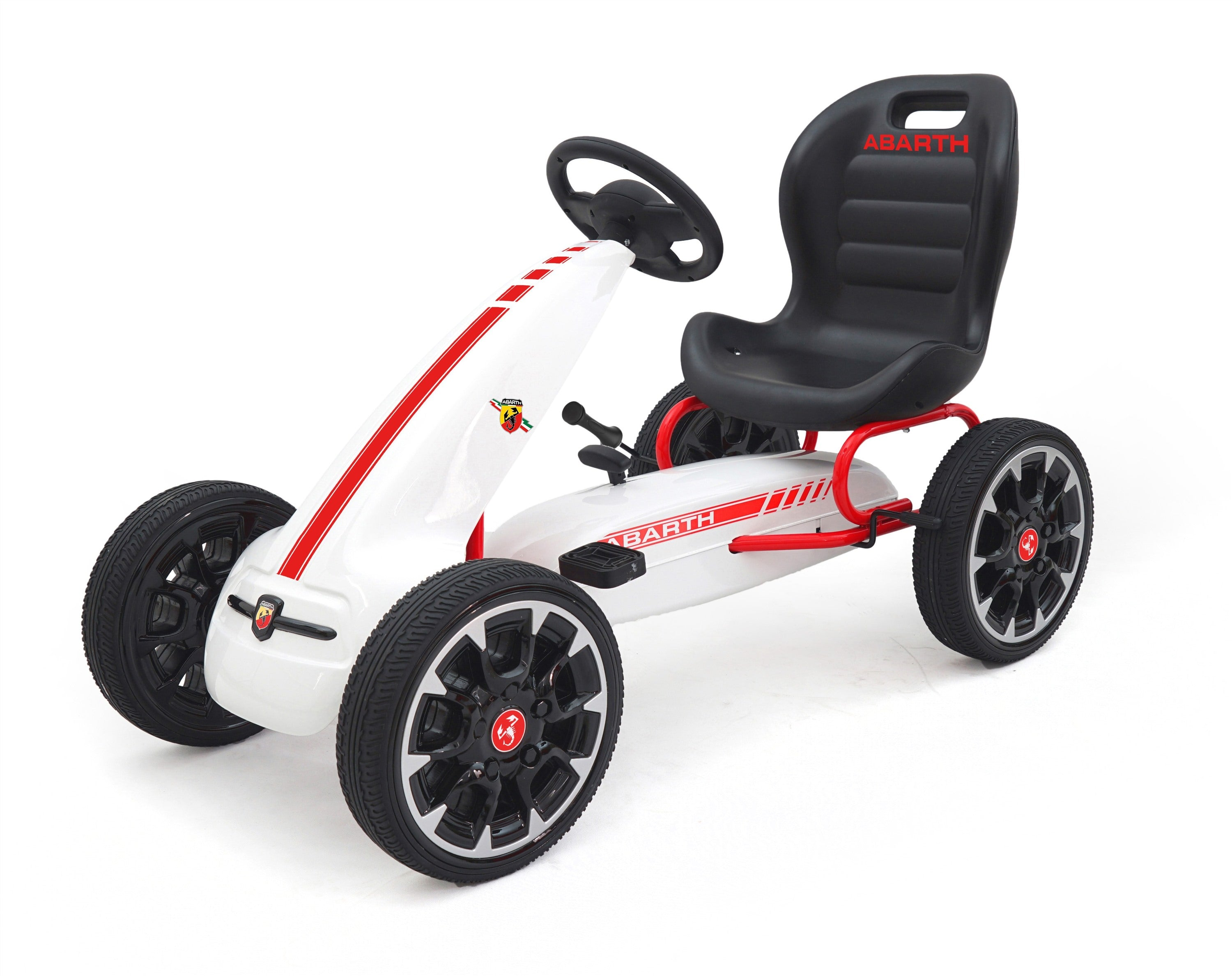 ABARTH Licensed Kids Go Kart with Foot Pedal EVA Wheels Brake Lever Clutch Gear WHITE - RICCO® Toys