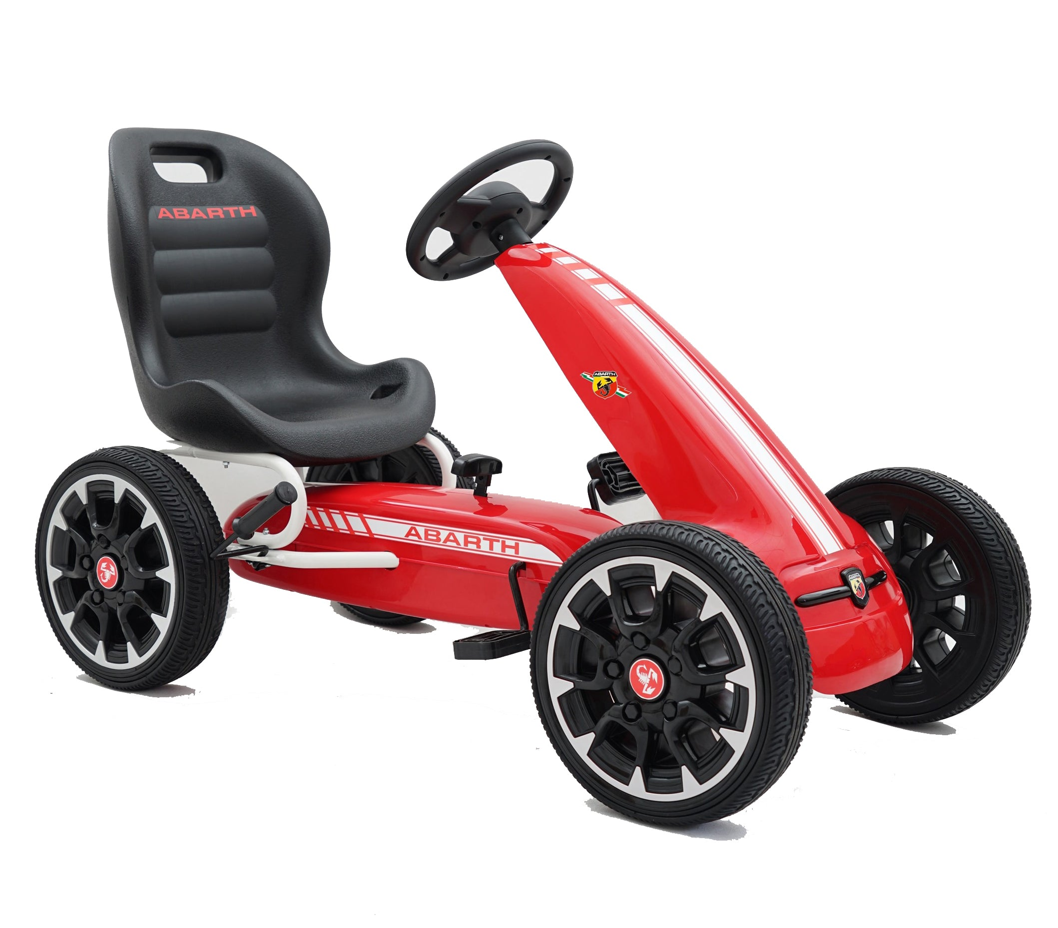 ABARTH Licensed Kids Go Kart with Foot Pedal EVA Wheels Brake Lever Clutch Gear RED - RICCO® Toys