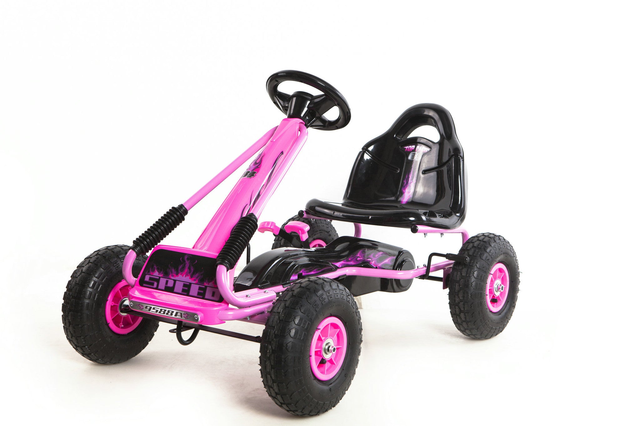 Kids Outdoor Go Kart with Foot Pedal Rubber Air Wheels Gear Brake Lever (Model: 9588A) PINK - RICCO® Toys