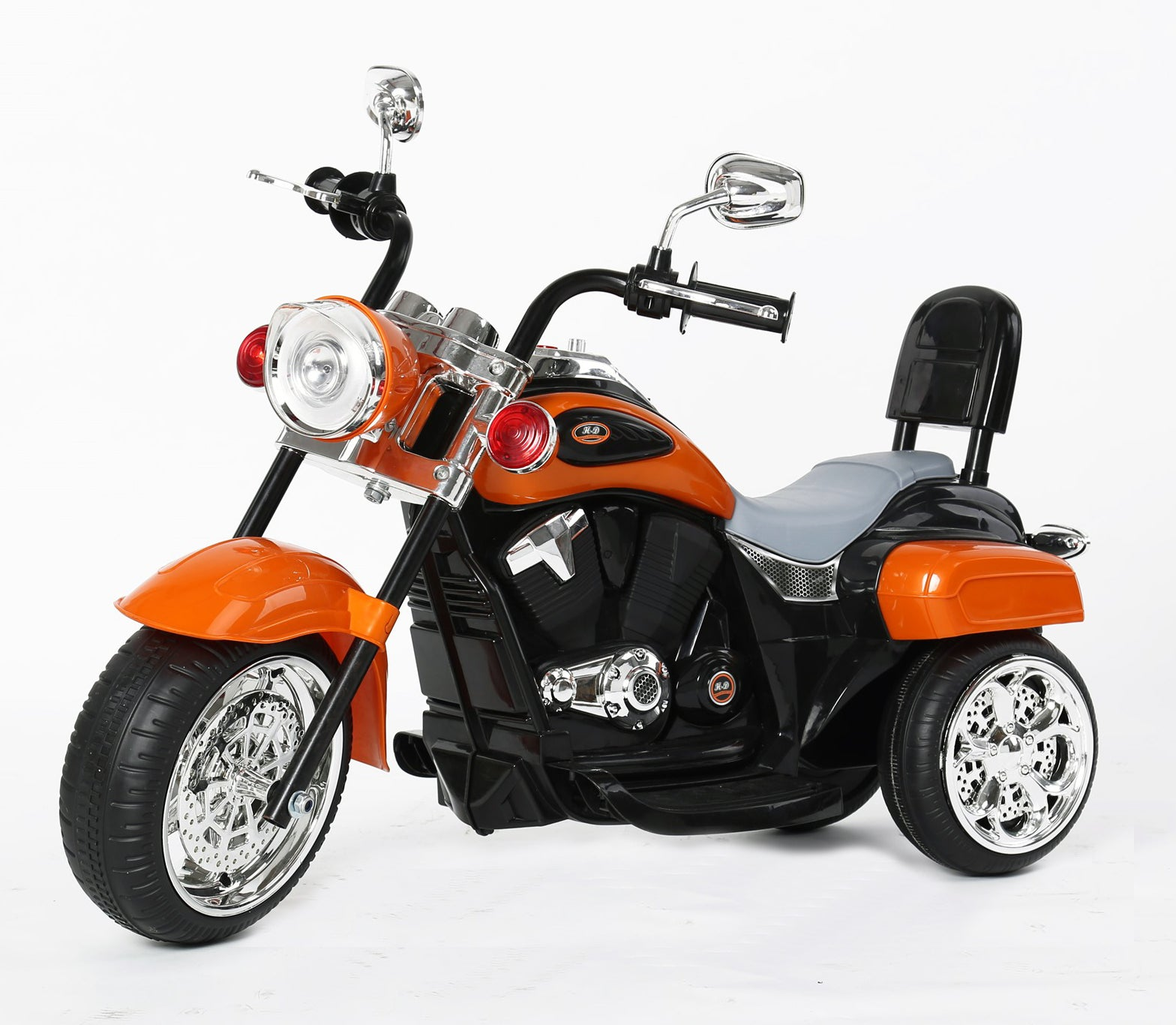Kids 3 Wheel Chopper 6V 4.5Ah Battery Powered Harley Style Electric Motor Trike (Model: TR1501 ) ORANGE - RICCO® Toys