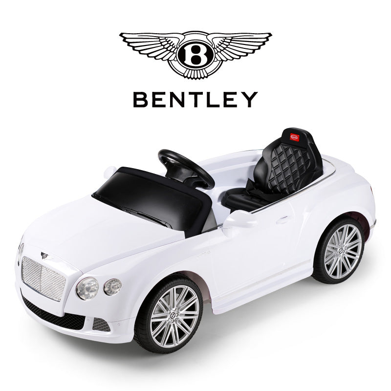 Ricco RS82100 BENTLEY WHITE Bentley GTC 12V Electric Ride On Car with Remote Control - RICCO® Toys