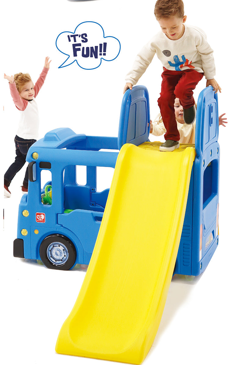 RICCO 3 In 1 Indoor Outdoor Bus Climb And Slide Kids Toddler Nursery  Activity Role Play Centre With Door And Saddle (BLUE+SWING OPTION)