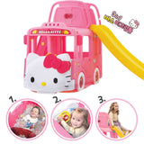 Ricco Y1601 HELLO KITTY BUS 3-in-1 Indoor/Outdoor Bus Climb and Slide Kids/Toddler/Nursery Activity Role Play Centre with Door and Saddle, Pink - RICCO® Toys