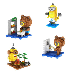 4-in-1 Combo Gift Pack 1400 Pixel Blocks Toy Kids Bricks Craft (4x Teddy Bear and Little Yellow Guys)