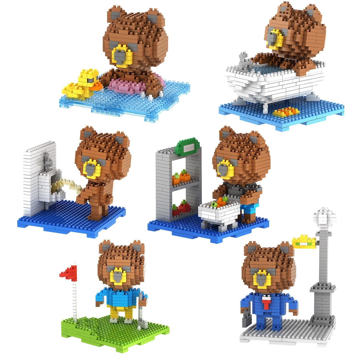 6-in-1 Combo Gift Pack of 2170 Pixel Blocks Toy Kids Bricks Craft (6x Teddy Bears) - RICCO® Toys