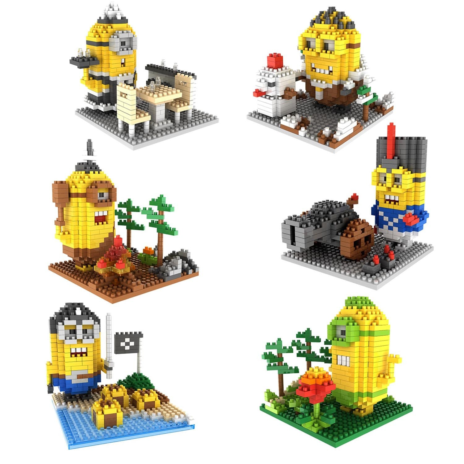 6-in-1 Combo Gift Pack of 2170 Pixel Blocks Toy Kids Bricks Craft (6x Little Yellow Guys) - RICCO® Toys