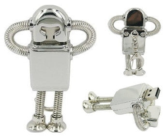 16GB 01-023 ROBOT USB 2.0 Metal Stainless Steel Flash Drive Memory Stick - RICCO® Toys