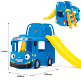 RICCO 3-in-1 Indoor Outdoor Bus Climb and Slide Kids Toddler Nursery Activity Role Play Centre with Door and Saddle (BLUE+SWING OPTION) - RICCO® Toys