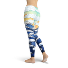 Japanese Waves Art Leggings