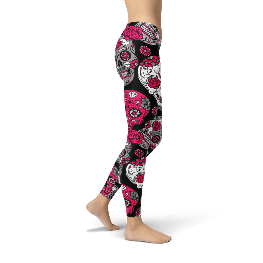Sugar Skull Pink & Grey Leggings
