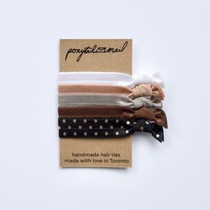 Flat White Hair Tie Pack of 5 by Ponytail Mail