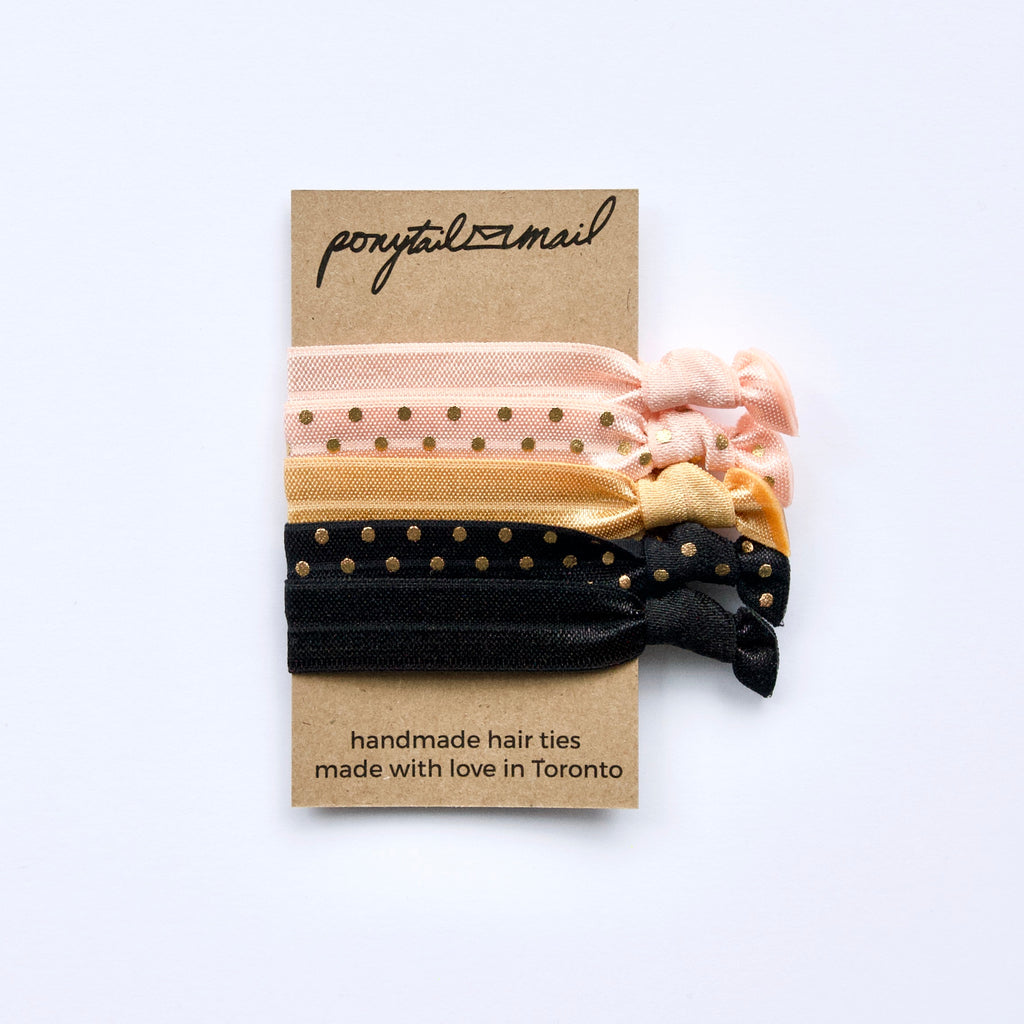 Polka Dot Party Hair Ties Pack of 5 by Ponytail Mail