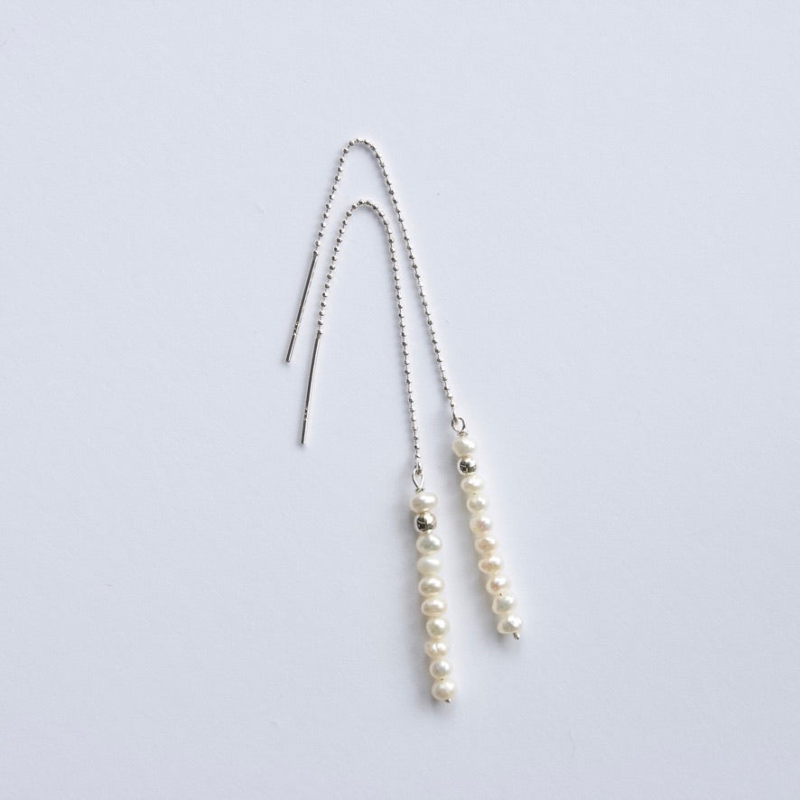 Small White Pearl Threader Earrings