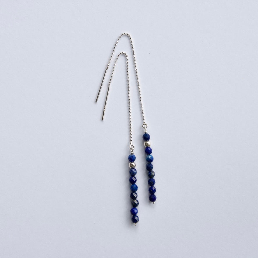 Lapis Lazuli Threader Earrings