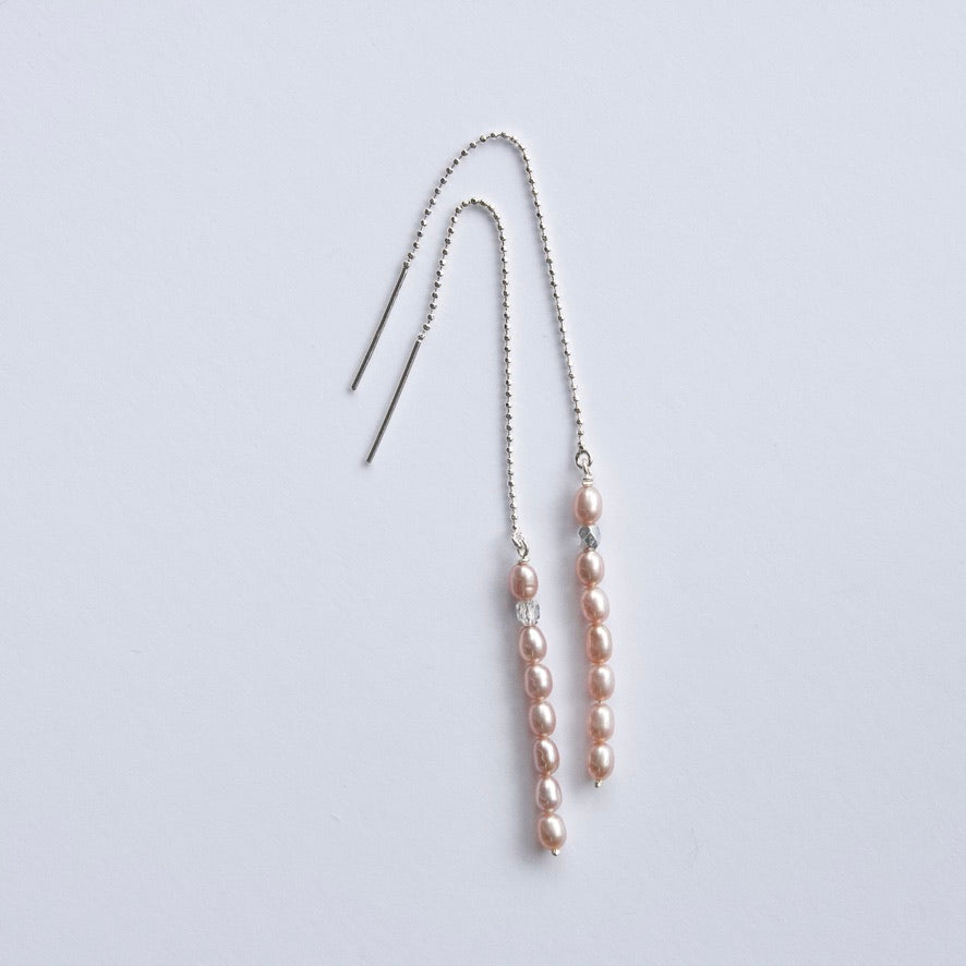 Small Pink Pearl Threader Earrings