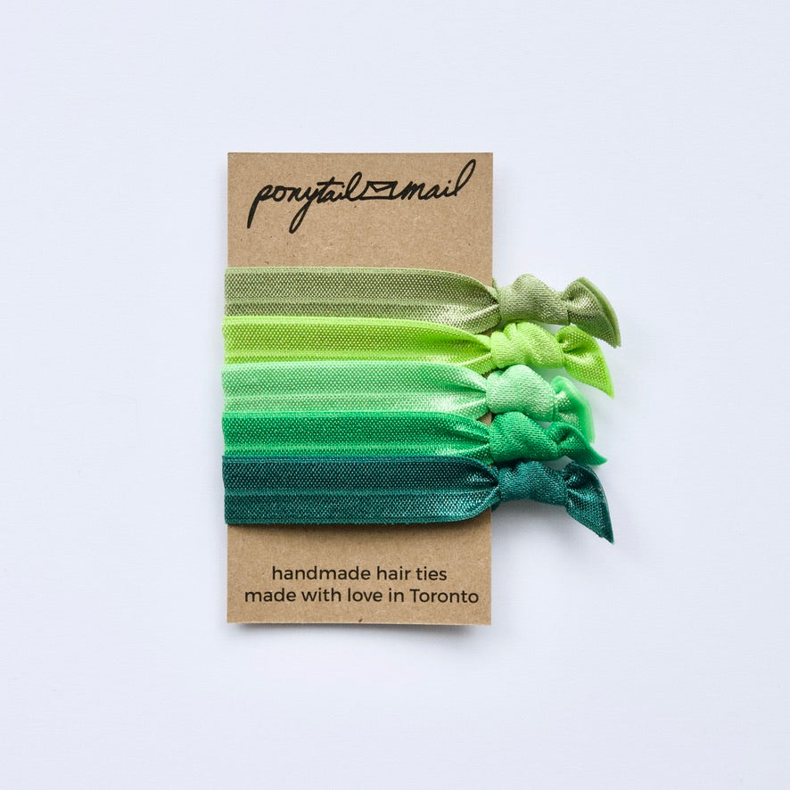 Green with Envy Hair Tie Pack of 5 by Ponytail Mail