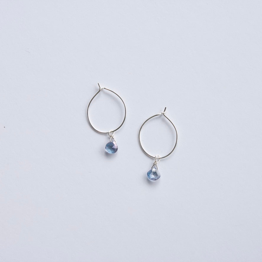 Blue Topaz Hoop Earrings