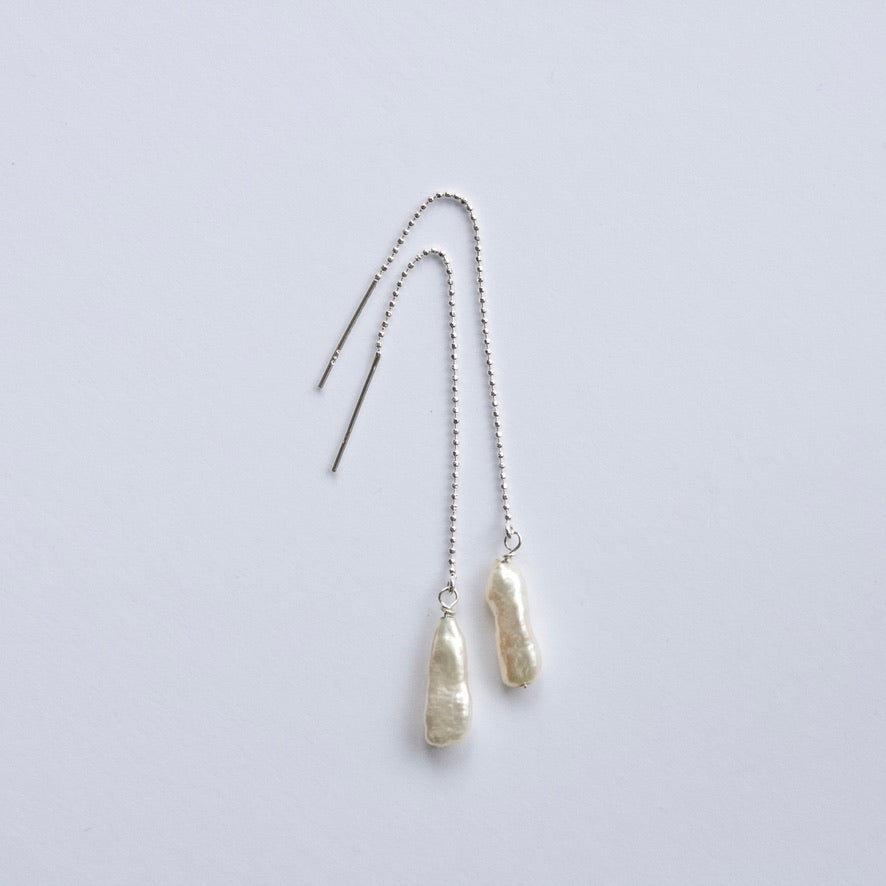 White Baroque Keshi Pearl Threader Earrings