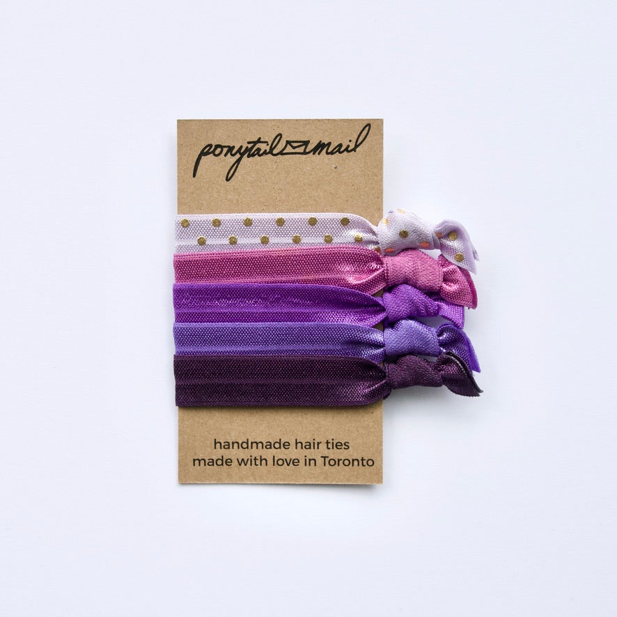 Purple Party Hair Tie Pack of 5 by Ponytail Mail