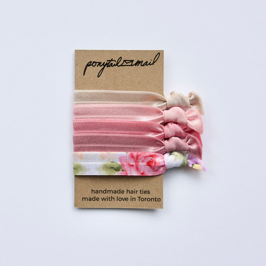 Rose Garden Hair Ties Pack Ponytail Mail