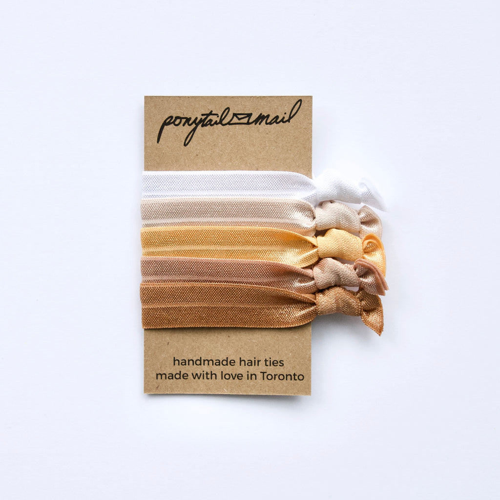 au naturel #1 Hair Tie Pack of 5 by Ponytail Mail