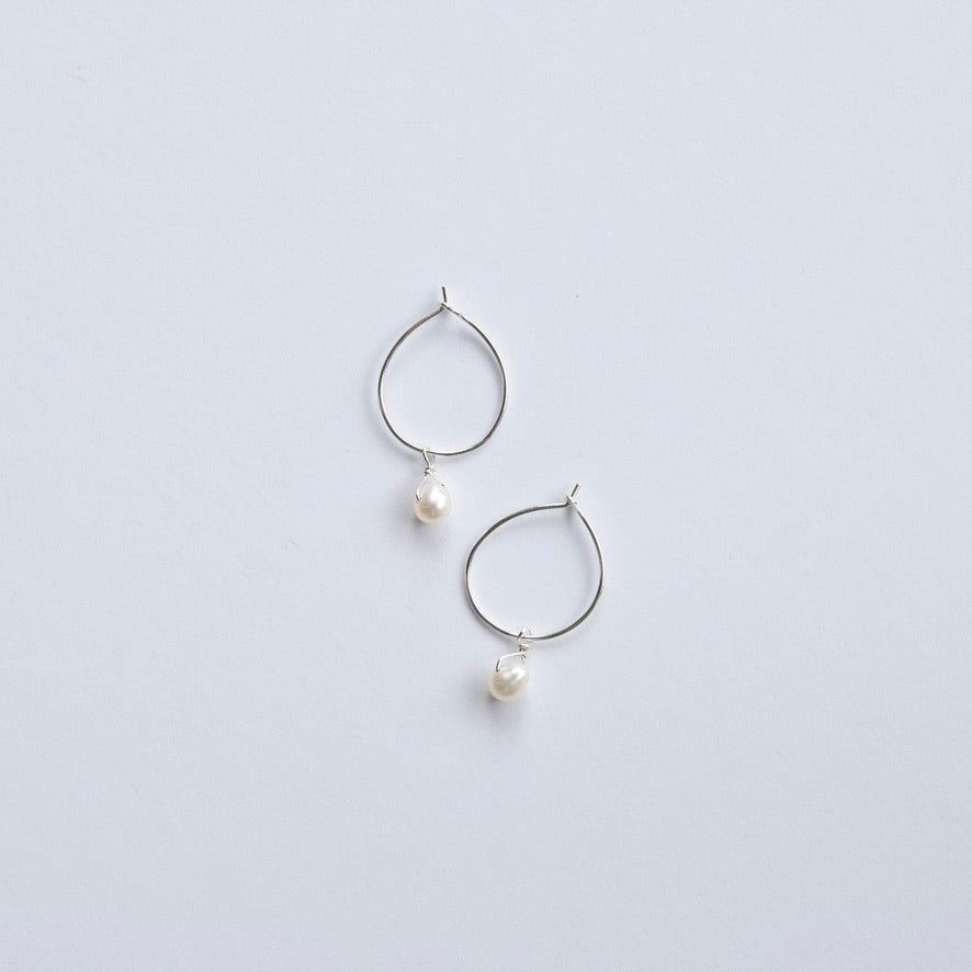 White Pearl Hoop Earrings