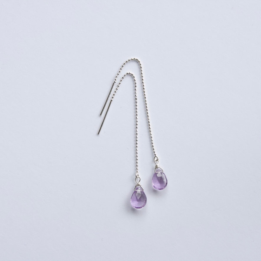 Amethyst Threader Earrings