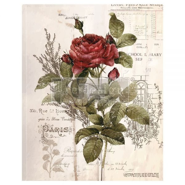 Botanical Rose Decor Transfer
