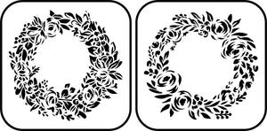 Floral Wreath Stencil ~ 2 Pack - Twist My Armoire