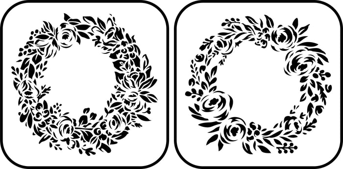 Floral Wreath Stencil ~ 2 Pack
