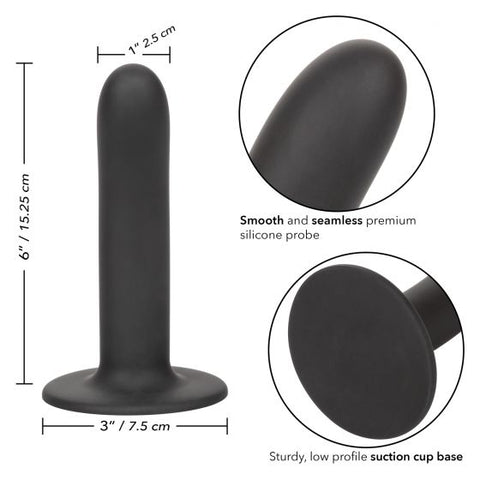 Boundless 6 Inch Smooth Silicone Dildo - Black close ups of various features