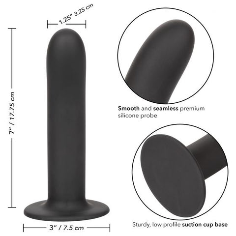Boundless 7 Inch Smooth Silicone Dildo - Black in several close ups illustrating various features