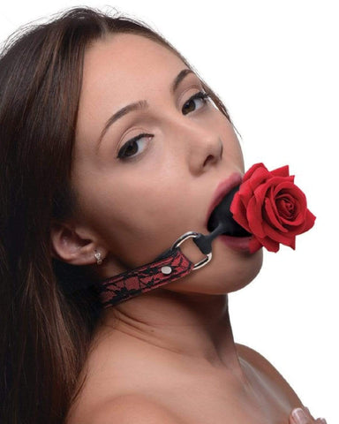XR Brands Ball Gag Full Bloom Silicone Ball Gag with Rose