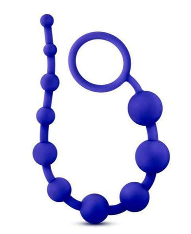 Blush Novelties Anal Beads Luxe Silicone 10 Anal Beads - Indigo