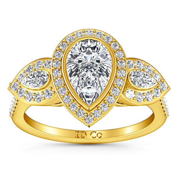 Three Stone Engagement Ring Vanessa 14K Yellow Gold