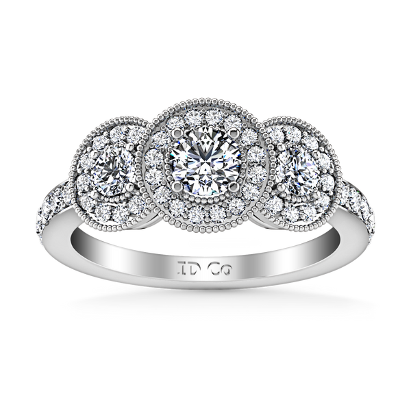 Three Stone Engagement Ring Giselle 14K White Gold