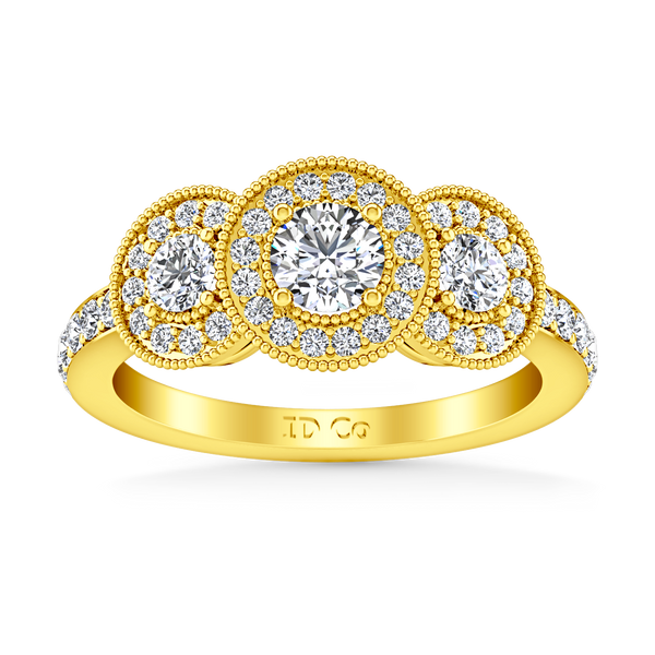 Three Stone Engagement Ring Giselle 14K Yellow Gold