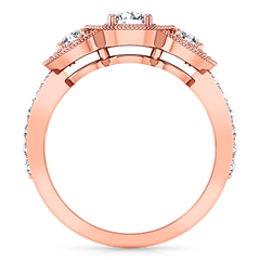 Three Stone Engagement Ring Giselle 14K Rose Gold