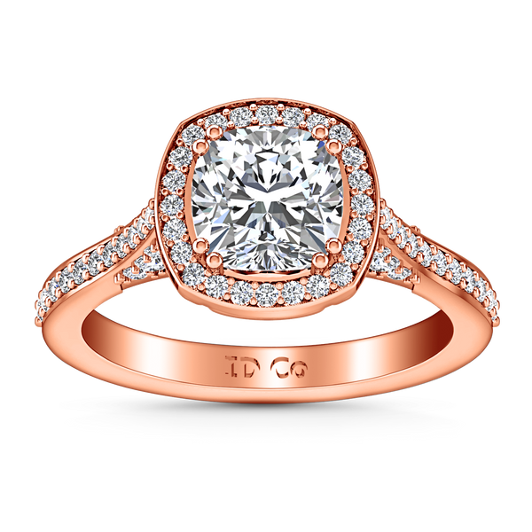 Halo Cushion Cut Engagement Ring Coco 14K Rose Gold