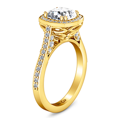 Halo Cushion Cut Engagement Ring Coco 14K Yellow Gold