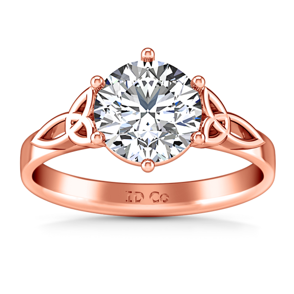 Solitaire Engagement Ring Fiona Celtic Knot 14K Rose Gold