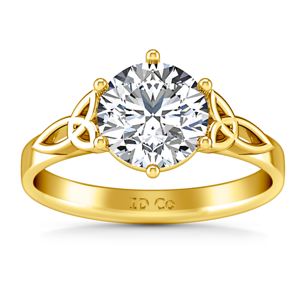 Solitaire Engagement Ring Fiona Celtic Knot 14K Yellow Gold