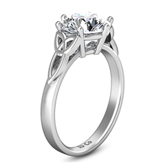 Solitaire Engagement Ring Fiona Celtic Knot 14K White Gold
