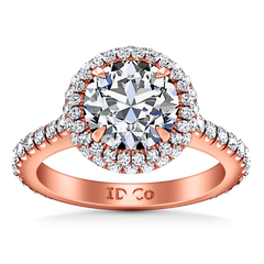 Halo  Engagement Ring Blossom 14K Rose Gold