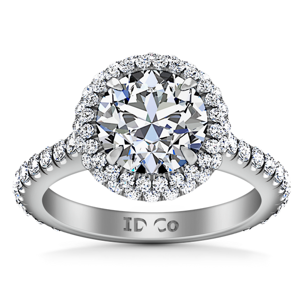 Halo  Engagement Ring Blossom 14K White Gold